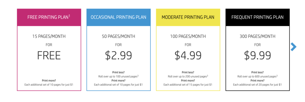 HP Instant Print Pricing Plans