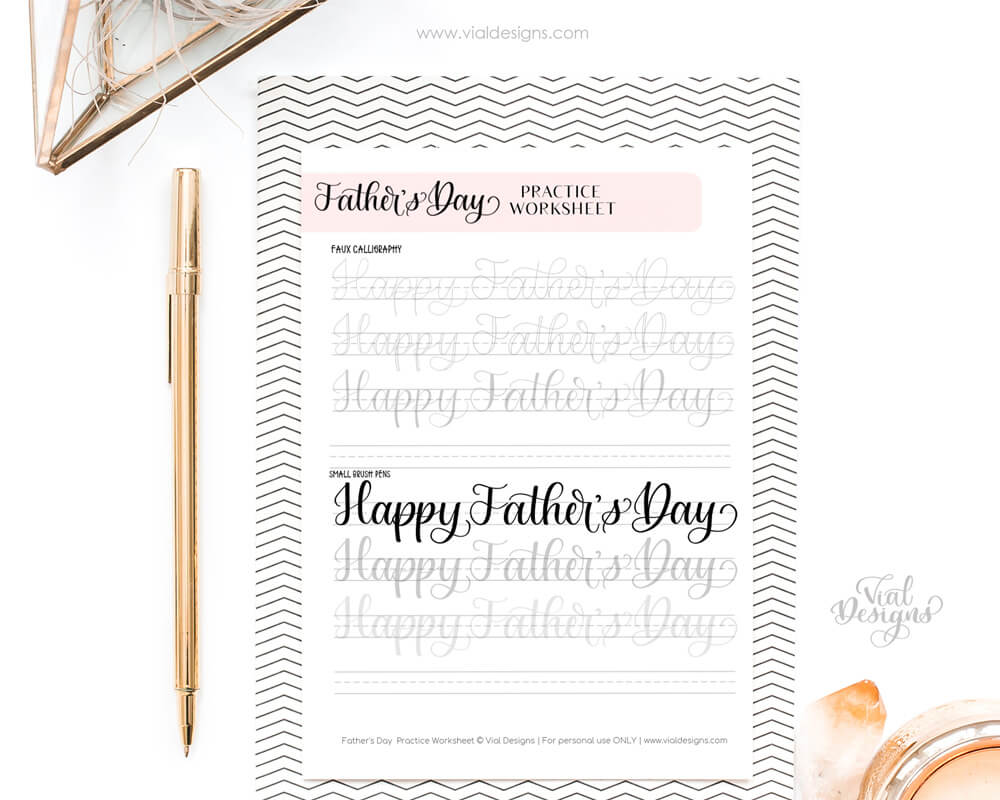 Father's Day Calligraphy Sheet on a clipboard with a gold pen on the side