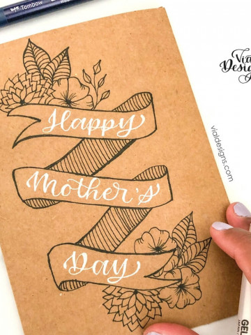 Happy Mother's Day DIY Card with banner and floral doodles