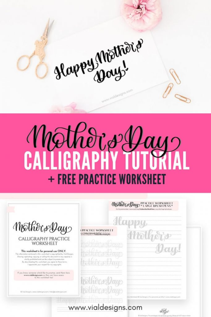 Happy Mother's Day Free Calligraphy Worksheet by Vial Designs