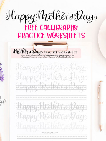Happy Mother's Day Free Calligraphy Practice Worksheet