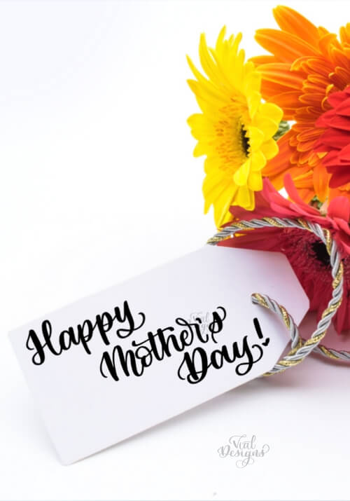Happy Mother's Day Gift tag with flowers