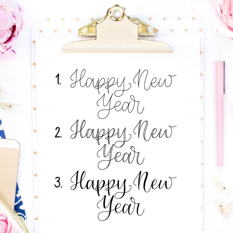 Happy New Year in Faux Calligraphy | How to write Happy New Year in Calligraphy by Vial Designs | Happy New Year Calligraphy Tutorial | Free Calligraphy Practice Worksheet