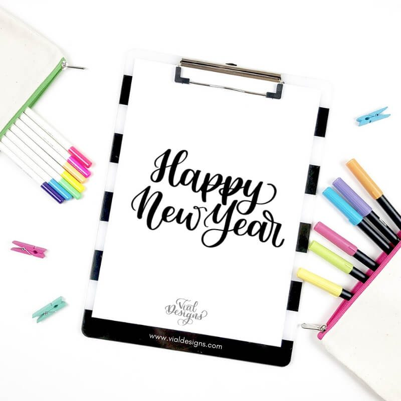 Happy New Year in Modern Calligraphy | How to write Happy New Year in Calligraphy by Vial Designs | Happy New Year Calligraphy Tutorial | Free Calligraphy Practice Worksheet