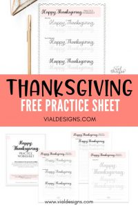 Thanksgiving Free Practice Sheet by Vial Designs