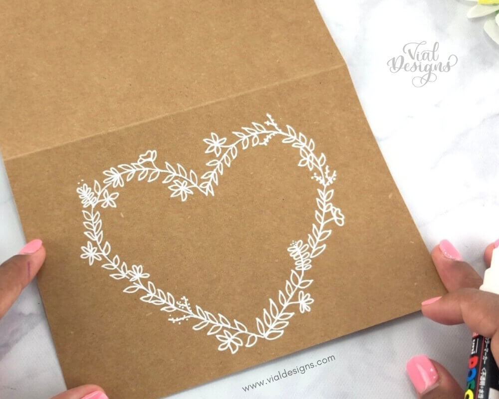 Heart Shaped Floral Doodle Wreath_White on Craft Paper