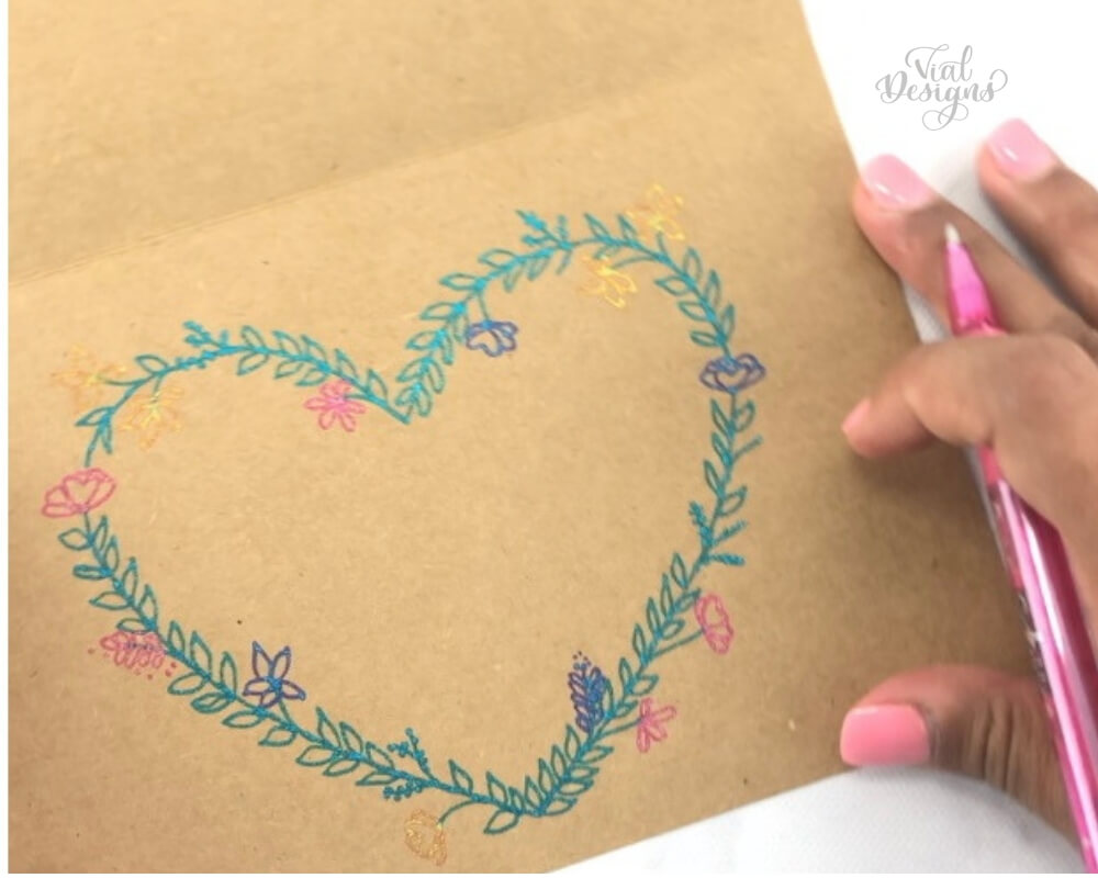 Heart Shaped Floral wreath using Pentel Sparkle Pop Metallic Gel Pens