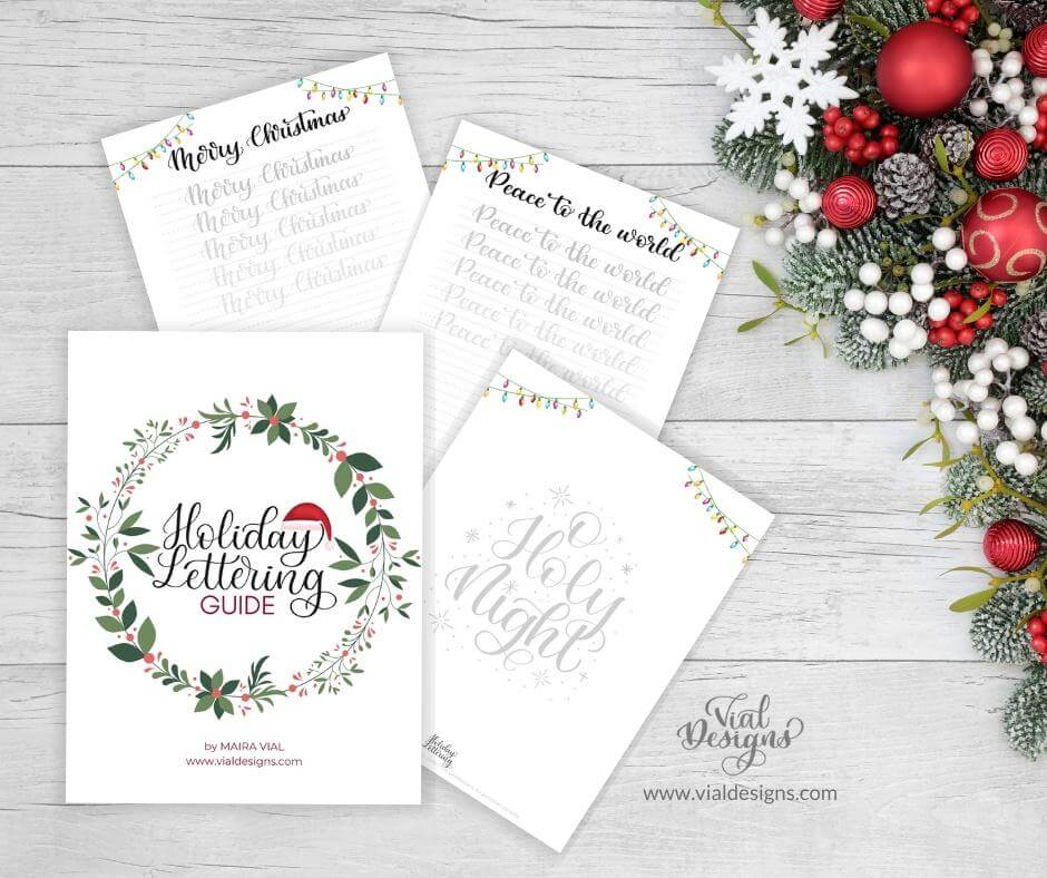 Holiday Lettering Guide Displayed by Vial Designs