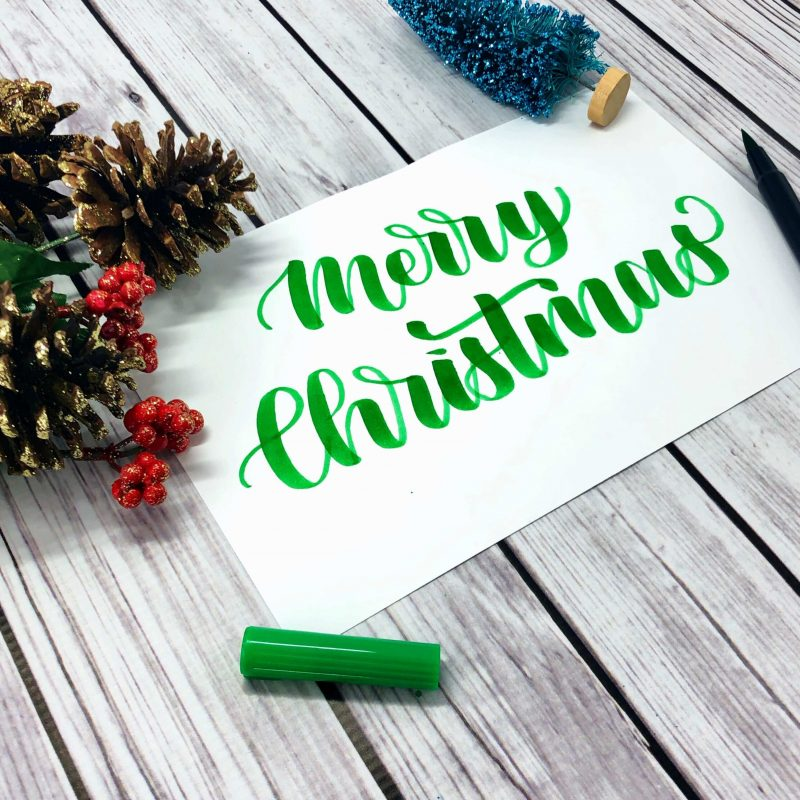 Merry Christmas in Calligraphy Plus Free Practice Sheet by Vial Designs