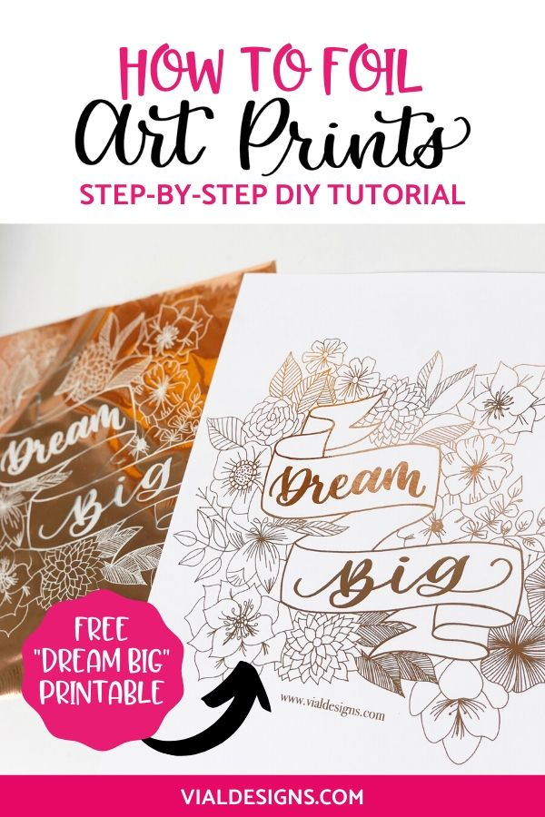 How to foil art prints step-by-step tutorial by Vial Designs