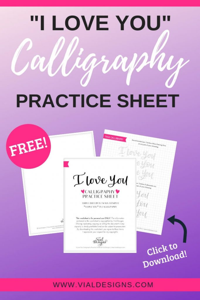 I love you Free Calligraphy Practice Sheet