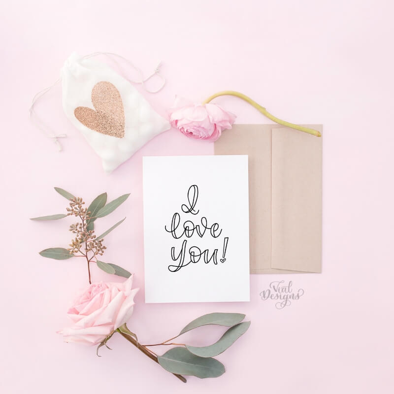 I love you calligraphy handmade card _ I love you handlettered card by Vial Designs | How to write I love you in calligraphy plus free practice worksheet