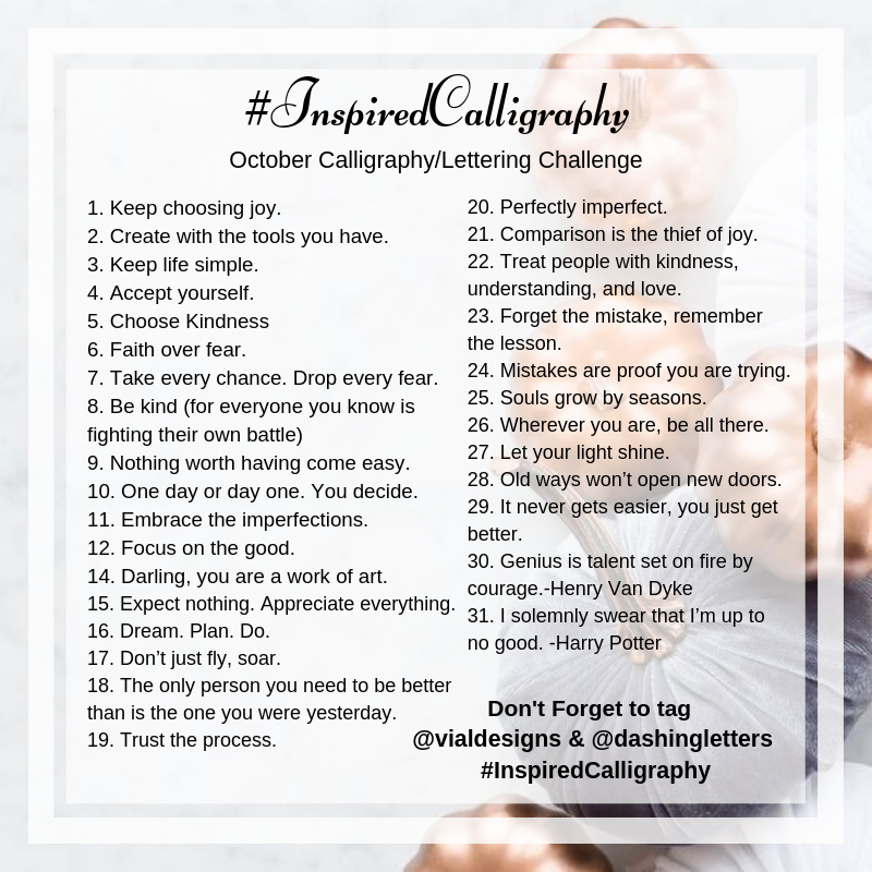 List of prompts of the Inspired Calligraphy Challenge_October_by Vial Designs | Inspirational Quotes | Motivational Quotes for October