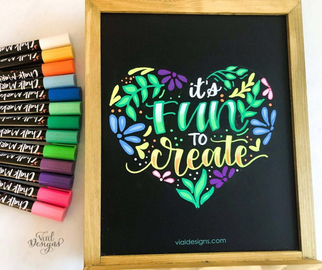 It's Fun To Create_Chalkboard Lettering Sign by Vial Designs