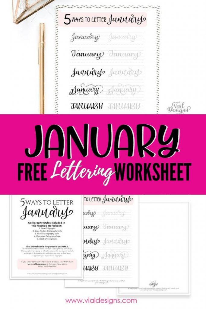 January Free Lettering Worksheet by Vial Designs