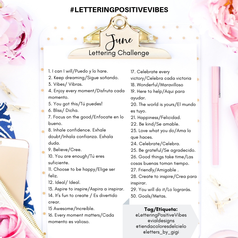 List of daily prompts for the #LetteringPositiveVibes Challenge