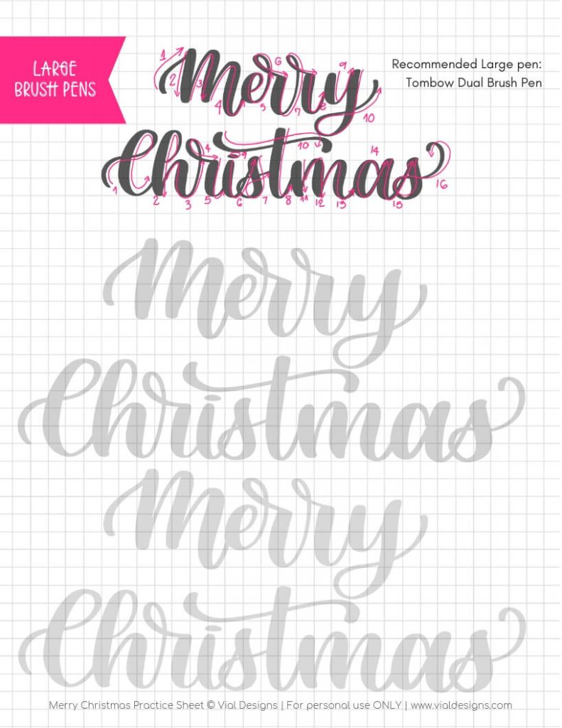 Merry Christmas Free Calligraphy Practice Sheet by Vial Designs | Free Faux Calligraphy Practice Sheet | Free Calligraphy Practice Worksheet