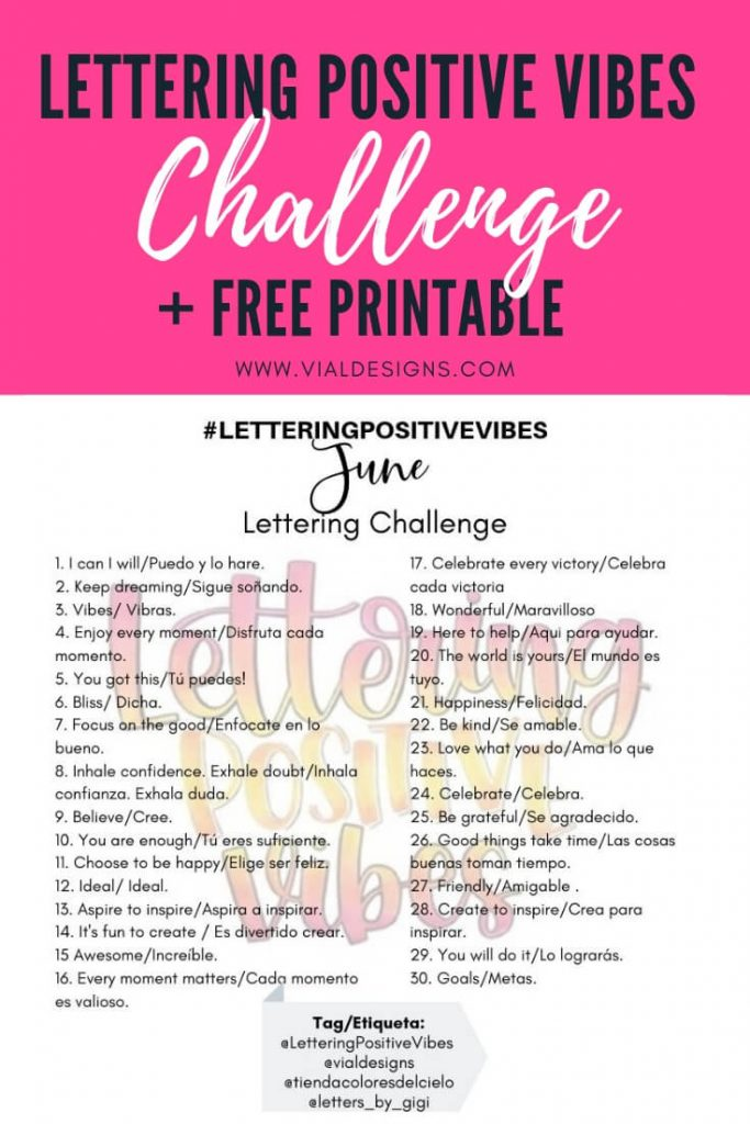 Lettering Positive Vibes Calligraphy Challenge Pinterest Graphic