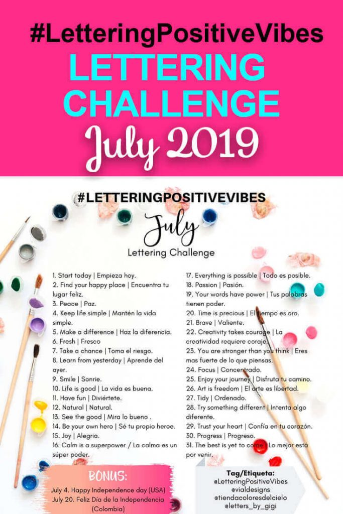 Lettering Positive Vibes July 2019 Pinterest Graphic with Prompts