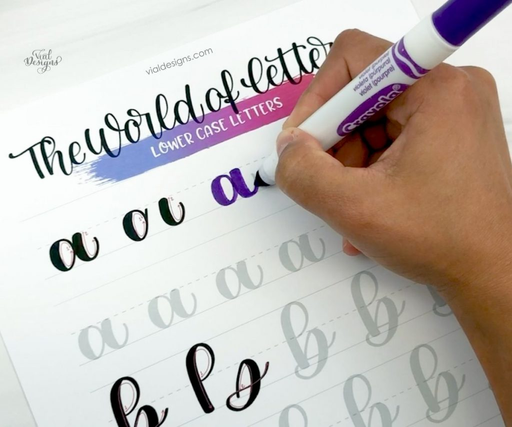 Lowercase letters page from my modern calligraphy workbook