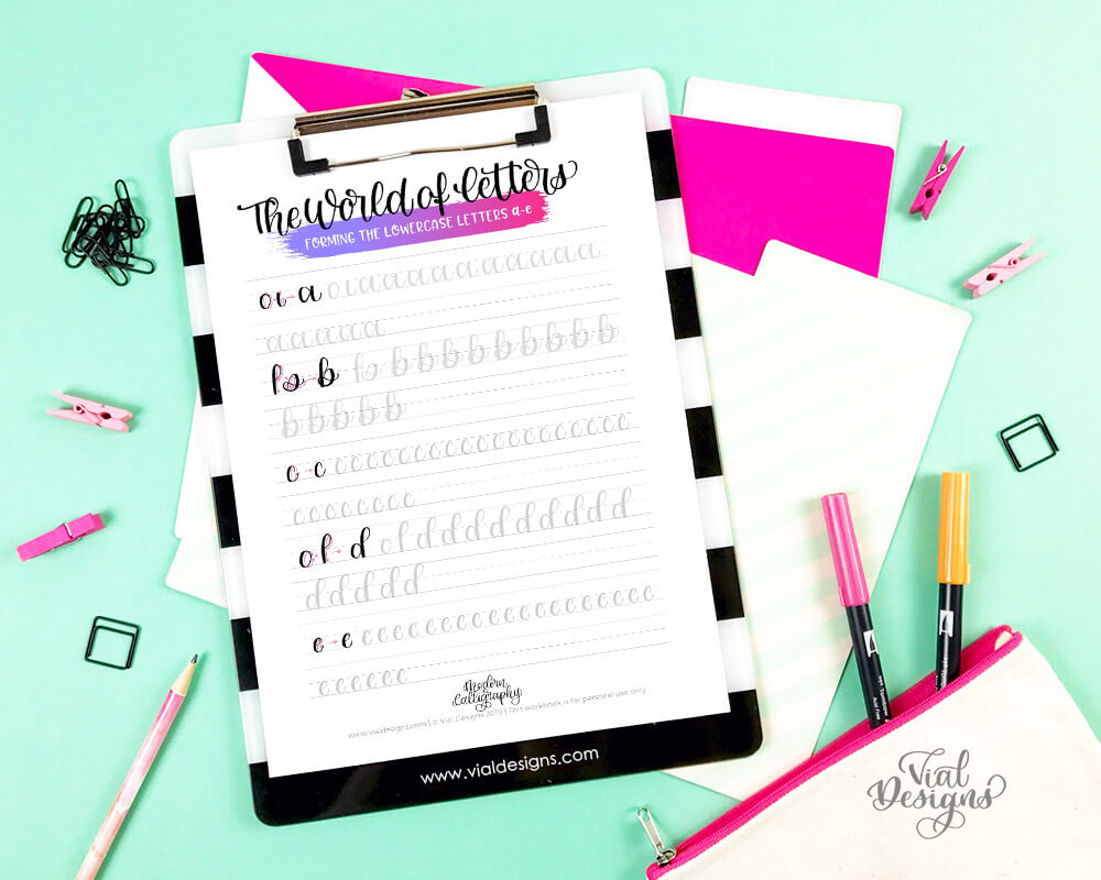 Modern Calligraphy Workbook lowercase step-by-step tutorial