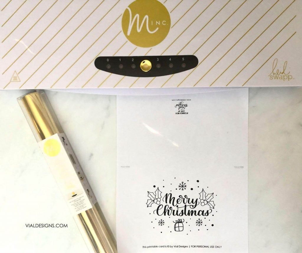 Materials needed for how to foil christmas cards by Vial Designs