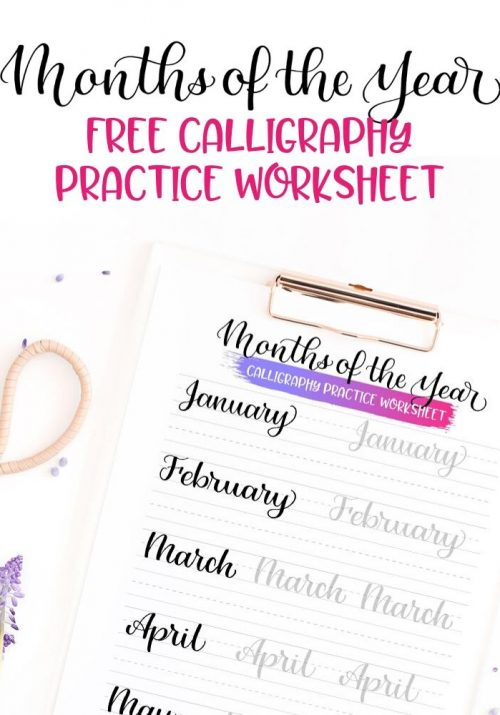 Months of the Year FREE Calligraphy Practice worksheet Featured Image