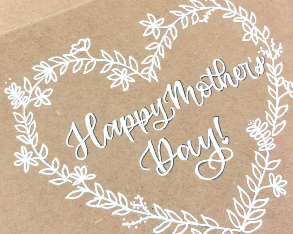 Mother's Day DIY Card Tutorial with Black shadow on the lettering