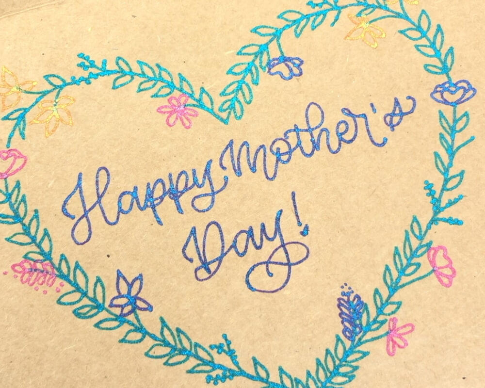 Mother's Day DIY Card using Sparkle pop Metallic Pens