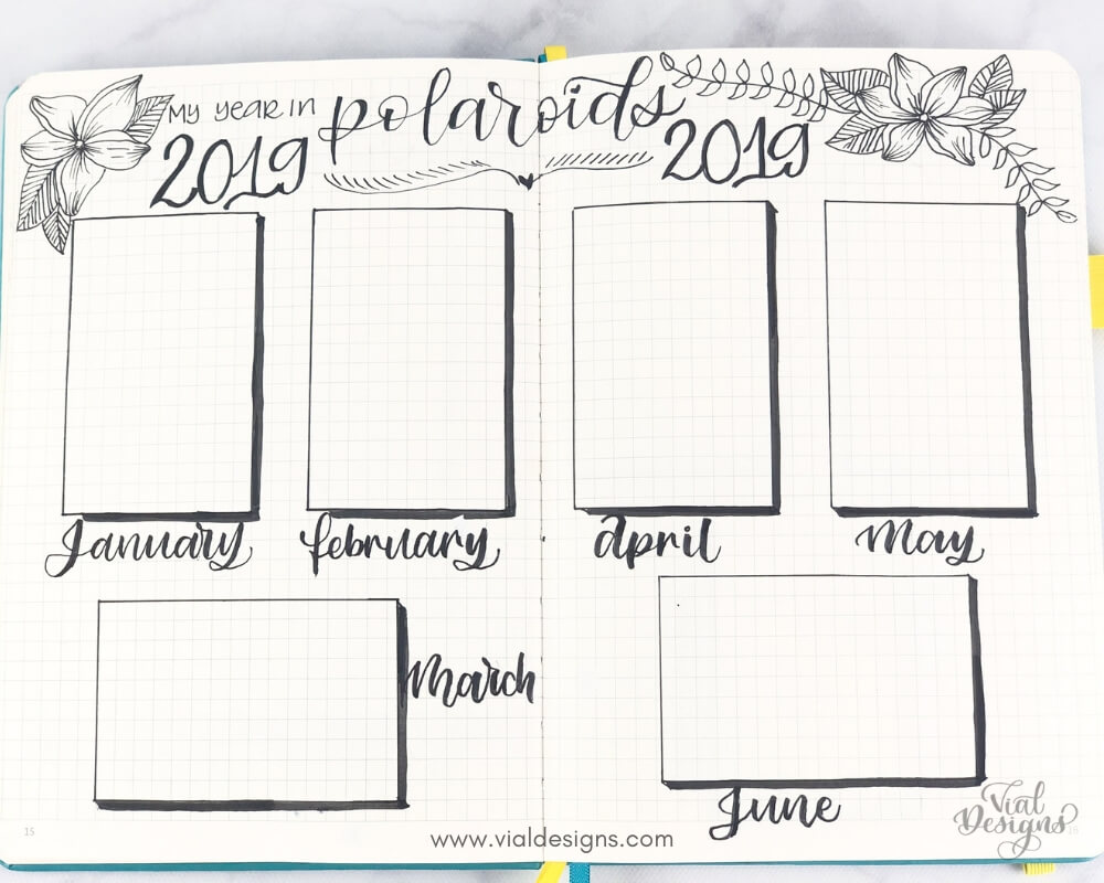 My Bullet Journal Setup 2019 A Year In Polaroids Page by Vial Designs
