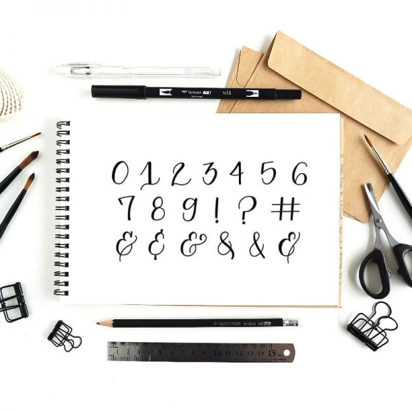 FAUX CALLIGRAPHY TUTORIAL – NUMBERS & SYMBOLS + FREE CALLIGRAPHY WORKSHEET