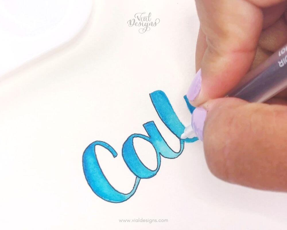 Outlining The lettering_Watercolor Blending Lettering Tutorial by Vial Designs