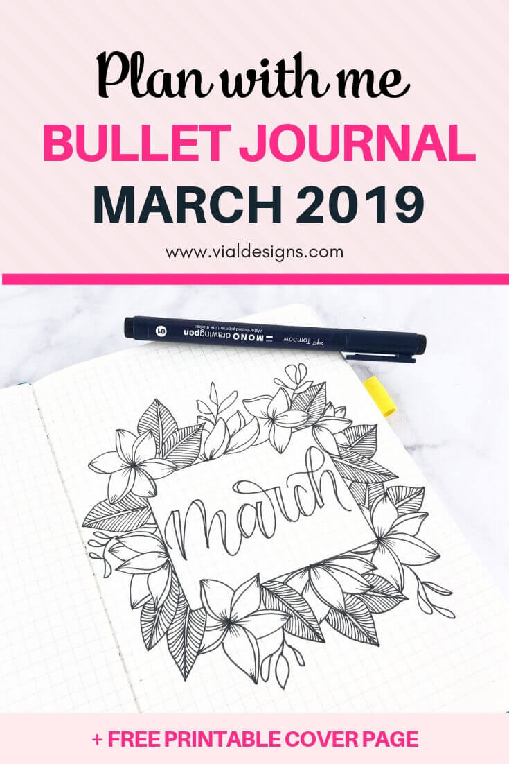 Plan With Me Bullet Journal March 2019 FREE Printable Cover Page