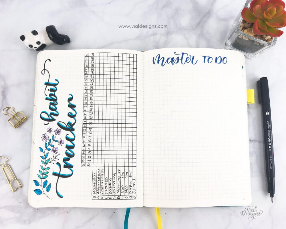 Habit Tracker and Master To Do pages on my Bullet Journal set up for June 2019 | Vial Designs