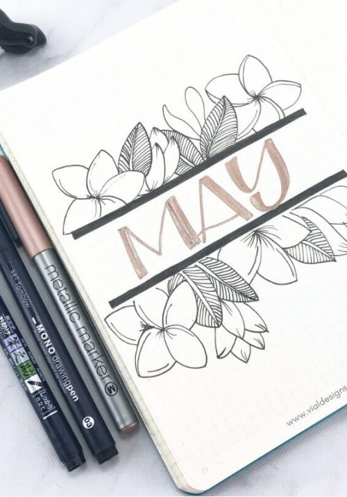 May cover page of my bullet journal set up with floral line drawings