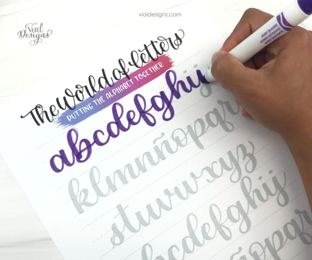 Lowercase alphabet practice page from the Modern Calligraphy Workbook by Vial Designs