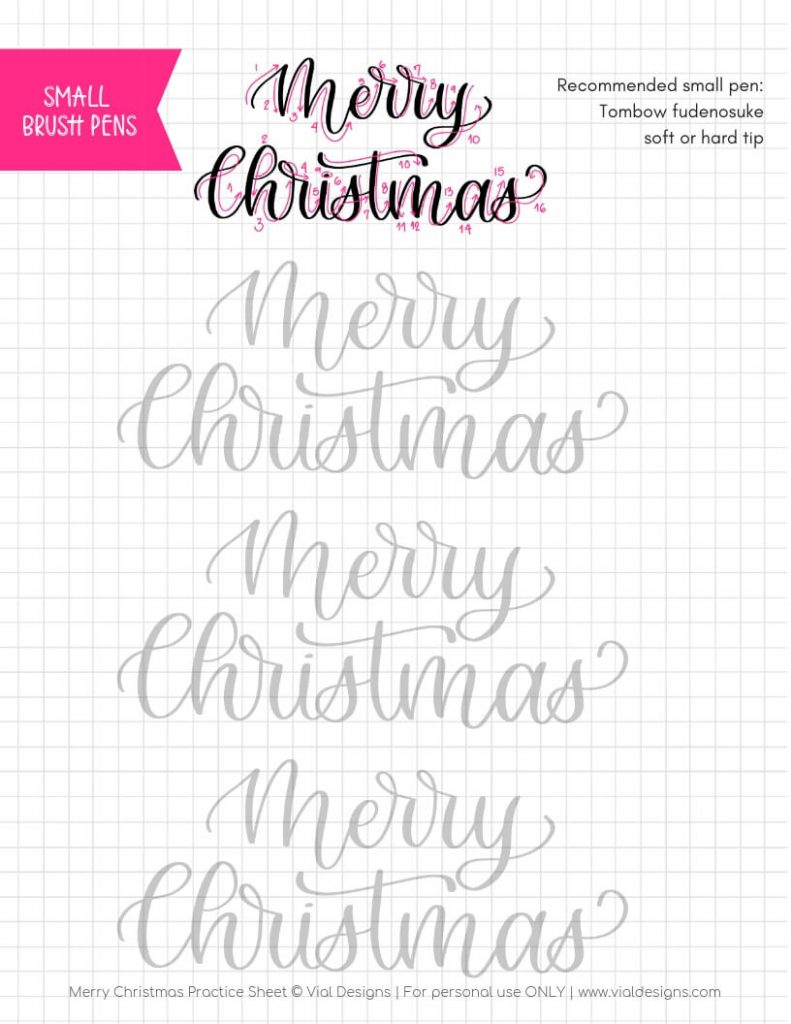 Christmas Calligraphy.How To Do Merry Christmas In Calligraphy Free Practice
