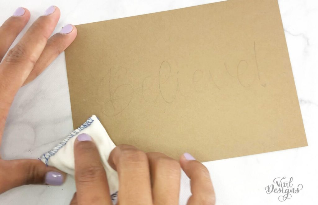 Step 1 of the Heat Embossing Tutorial by Vial Designs_Preping the surface