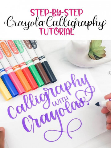 Step by Step Crayola Calligraphy Tutorial Featured image