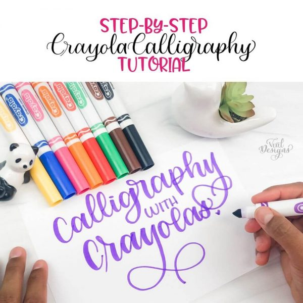 CALLIGRAPHY WITH CRAYOLA MARKERS + FREE WORKSHEET