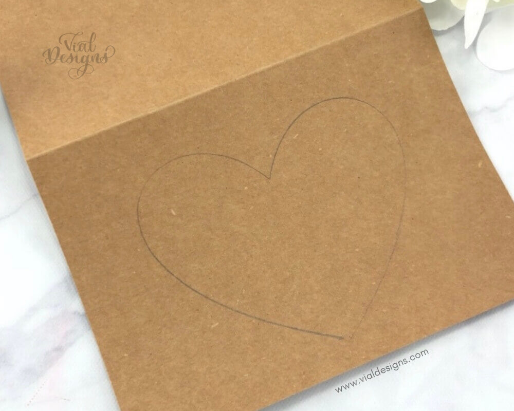 Step 2 Heart Shaped Drawn on Craft Paper