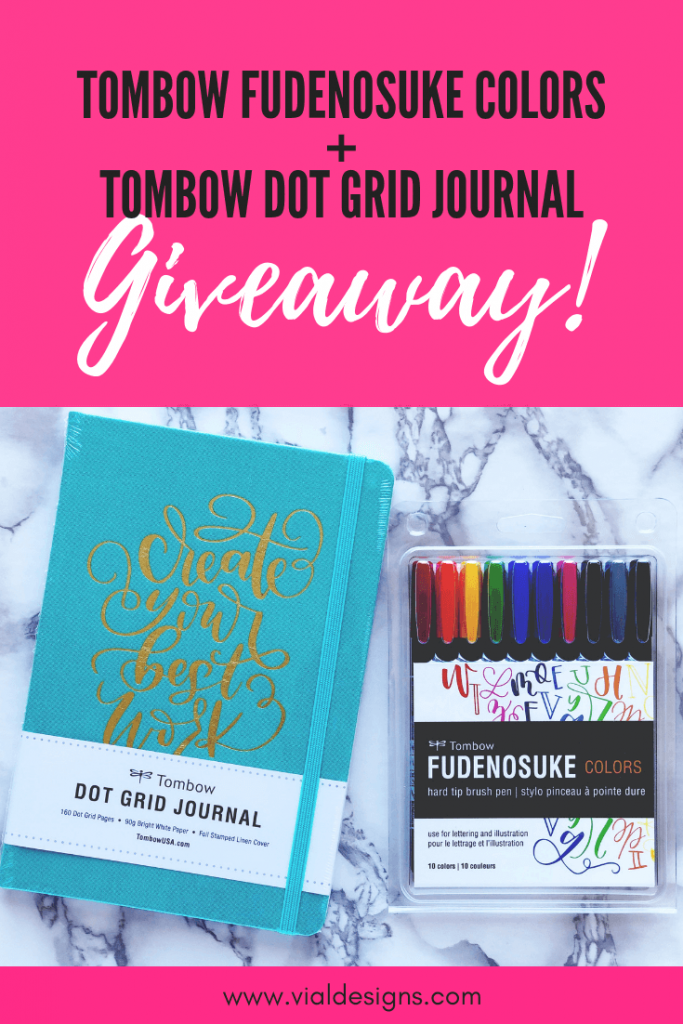 Tombow Fudenosuke Colors + Tombow Dot Grid Journal Giveaway | November 2018 | Vial Designs | Brush Pen Calligraphy Giveaway
