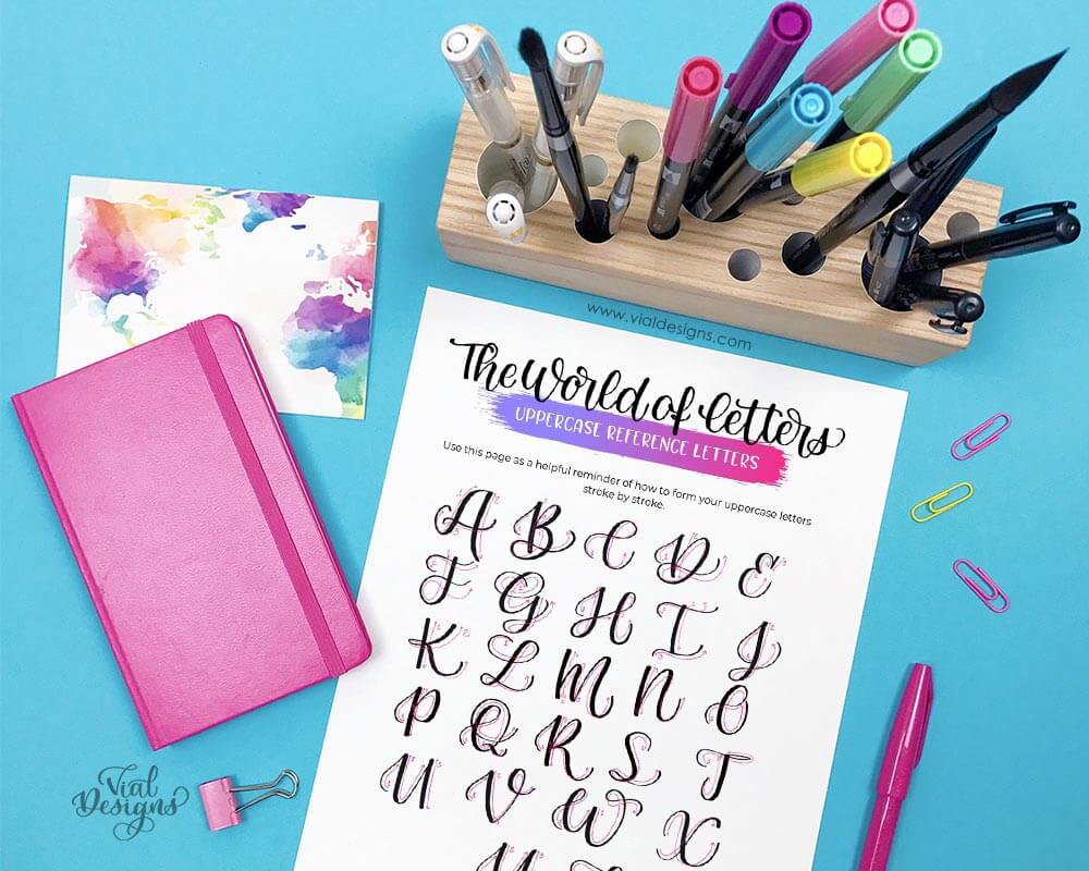 Modern Calligraphy Workbook uppercase step-by-step tutorial