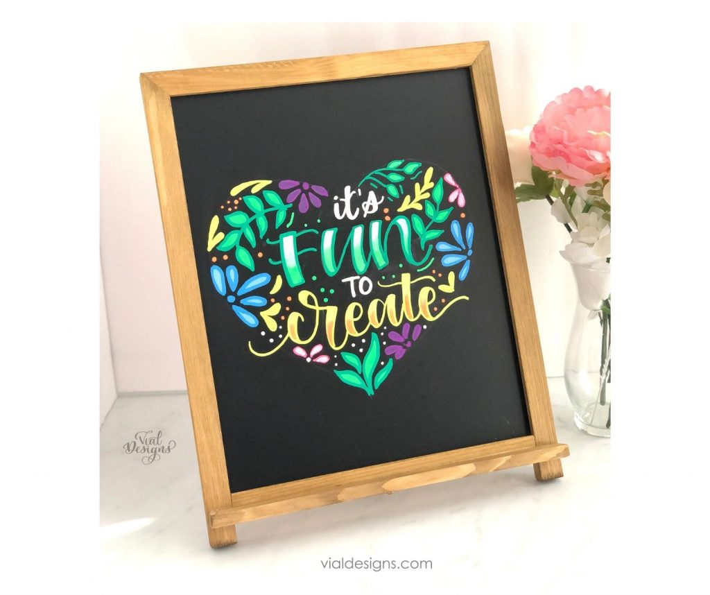 it's fun to create chalkboard lettering sign