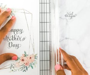 setting up to cute the mother's day card