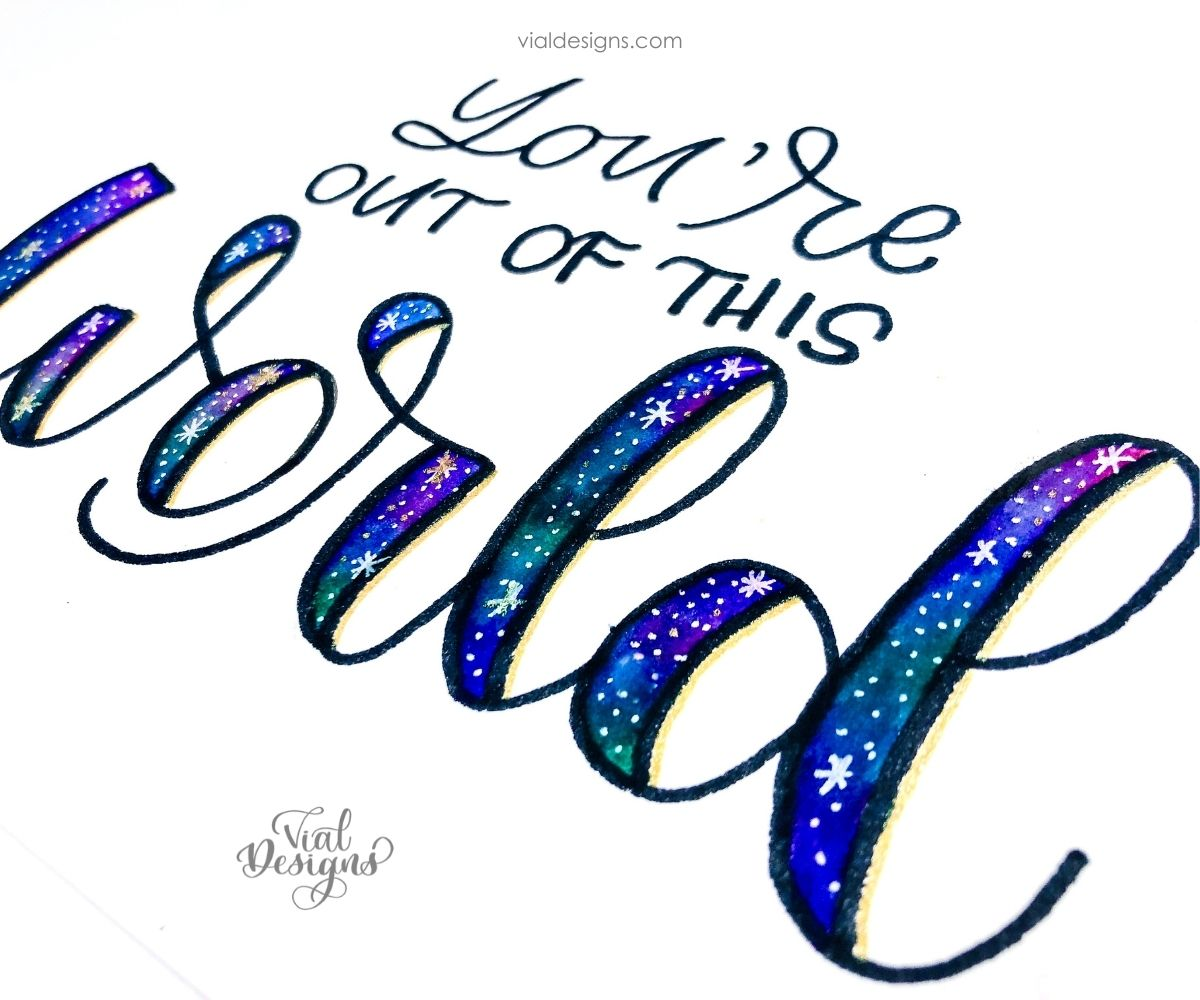 side view of the galaxy lettering tutorial