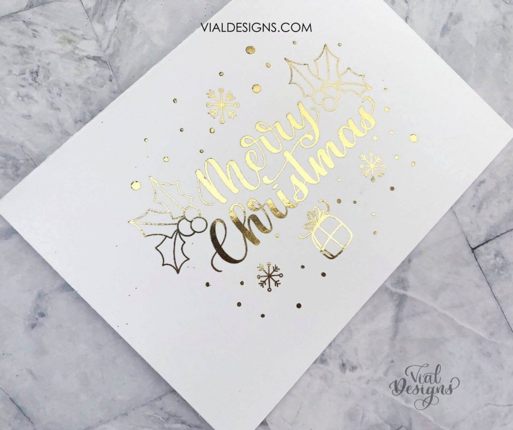 white card with gold foil merry christmas card
